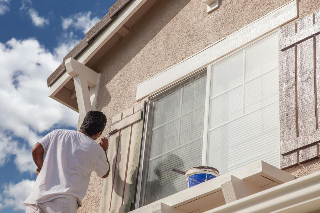 exterior painting in action